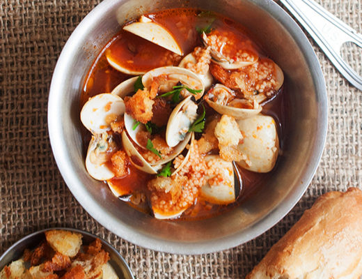 Clam Soups with Thyme Croutons