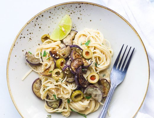 Hummus Pasta with Grilled Eggplant