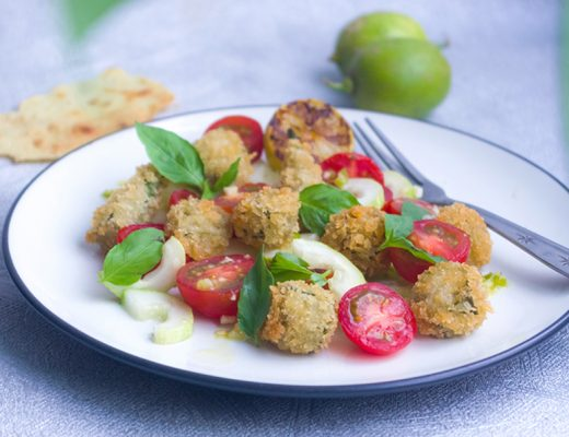 Fried Okra and Tomato Salad