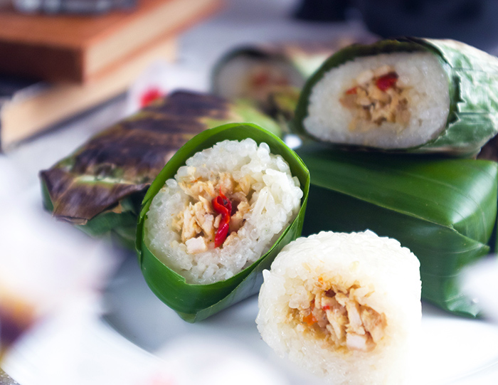 Lemper Ayam (Sticky Rice Stuffed with Shredded Chicken)