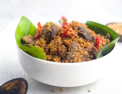 a bowl of serundeng daging